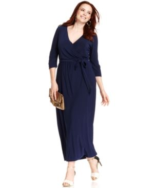 Navy NY Collection Plus Size Dress Three-Quarter-Sleeve Faux-Wrap Maxi.jpg