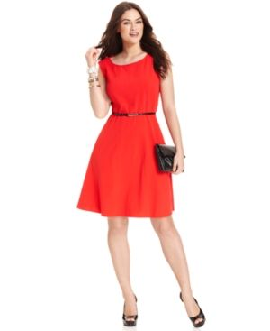 Orange red Spense Plus Size Dress Sleeveless Belted A-Line.jpg