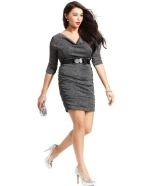 Ruby Rox Plus Size Dress Three-Quarter-Sleeve Ruched Belted Plus Sizes PLUS SIZE APPAREL.jpg
