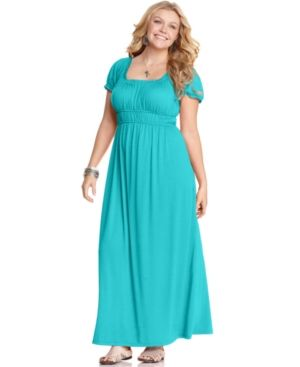 Turquoise Love Squared Plus Size Dress Short Sleeve Empire Maxi Plus Sizes PLUS SIZE APPAREL - Plus Size Dresses.jpg