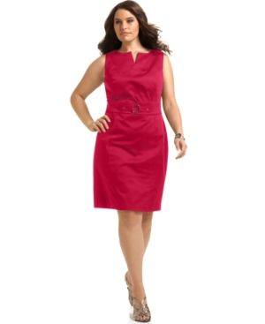 cheap plus size clothes - AGB Plus Size Dress Sleeveless O-Ring Sheath pinky red.jpg