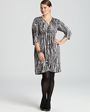 cheap plus size clothes - Karen Kane Plus Wrap Top Pleated Dress-Plus Sizes.jpg