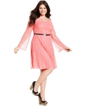 cheap plus size clothes - Ruby Rox Plus Size Dress Long-Sleeve Lace Belted.jpg