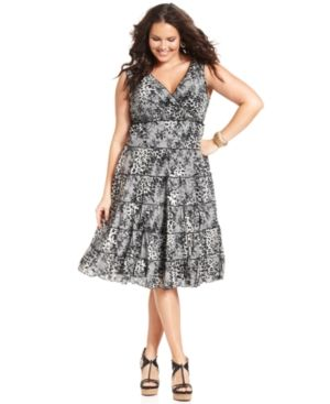 cheap plus size clothes - Style&co Plus Size Dress Sleeveless Printed Tiered.jpg