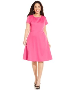 cheap plus size clothing - AGB Plus Size Dress Short-Sleeve A-Line - pink.jpg