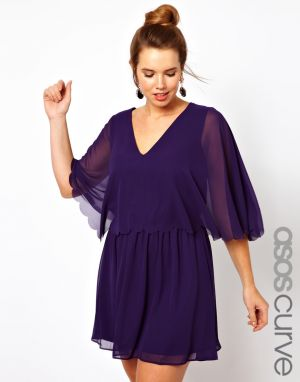 cheap plus size clothing - ASOS CURVE Chiffon Dress with Scalloped Edge.jpg