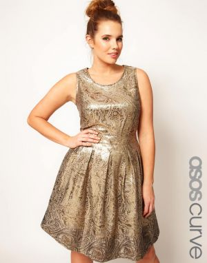 cheap plus size clothing - ASOS CURVE Exclusive Dolly Skater Dress In Gold Brocade.jpg