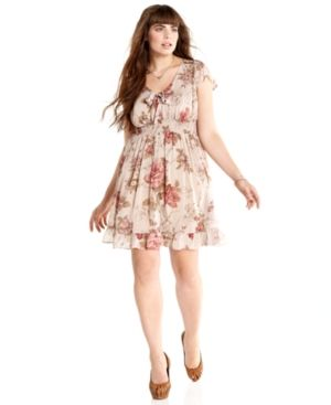 cheap plus size clothing - American Rag Plus Size Dress Short-Sleeve Floral-Print Empire.jpg
