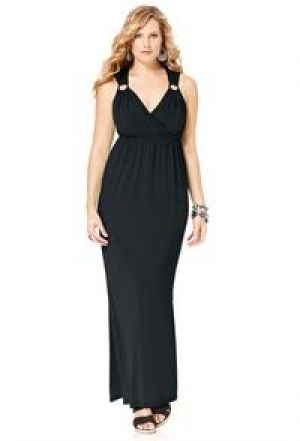 cheap plus size clothing - Avenue Plus Size Black Solid Ring Maxi Dress.jpg