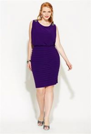 cheap plus size clothing - Avenue Plus Size Blouson Drape Back Dress - purple.jpg