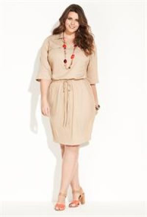cheap plus size clothing - Beige cream light brown Avenue Plus Size Drawstring Shirt Dress.jpg