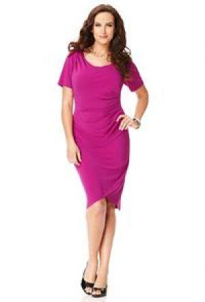 cheap plus size clothing - Bright pink Avenue Plus Size Ruched Side Dress.jpg