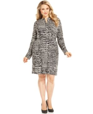 cheap plus size clothing - Calvin Klein Plus Size Dress Long-Sleeve Printed Shirtdress.jpg