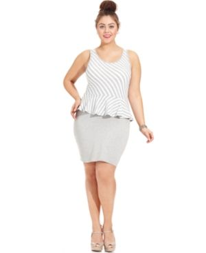 cheap plus size clothing - Extra Touch Plus Size Dress Sleeveless Striped Peplum.jpg
