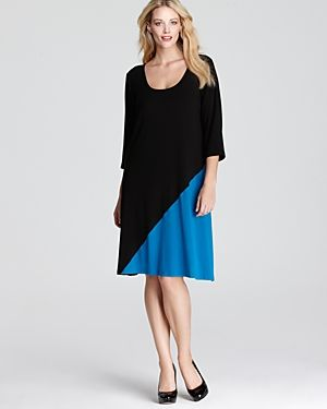 cheap plus size clothing - Karen Kane Plus Diagonal Block Dress-Plus Sizes.jpg