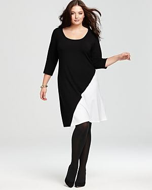 cheap plus size clothing - Karen Kane Plus Diagonal Block Dress.jpg