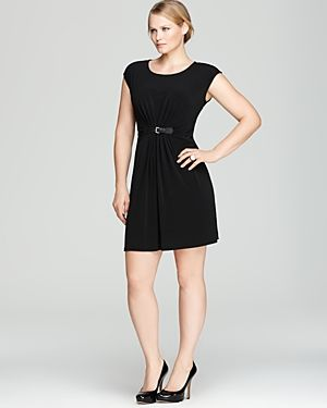 cheap plus size clothing - MICHAEL Michael Kors Plus Cap Sleeve Pleat Front Dress-Plus Sizes.jpg