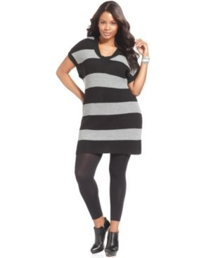 cheap plus size clothing - NY Collection Plus Size Dress Short-Sleeve Striped Sweater dress.jpg