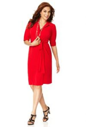 cheap plus size clothing - Red Avenue Plus Size Solid Shirt Dress.jpg