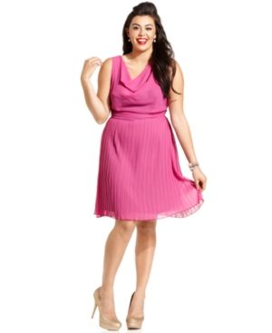 cheap plus size clothing - Ruby Rox Plus Size Dress pink Sleeveless Pleated Cowl-Neck.jpg