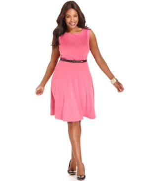 cheap plus size clothing - Style&co Plus Size Dress Sleeveless Belted A-Line.jpg