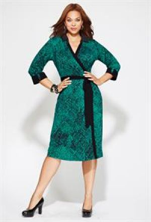 cheap plus size clothing - Teal Avenue Plus Size Belted Knit Shirt Dress.jpg