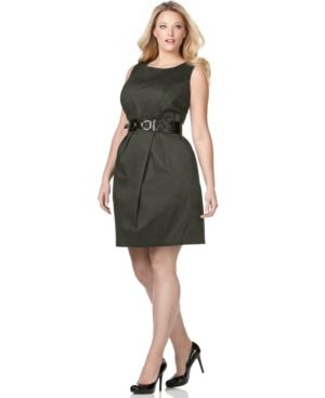 cheap plus size cocktail dresses - AGB Plus Size Dress Sleeveless Belted Sheath - black.jpg