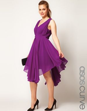 cheap plus size cocktail dresses - ASOS CURVE Chiffon Dress With Gathered Skirt - purple.jpg