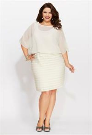 cheap plus size cocktail dresses - Avenue Plus Size Chiffon Pleat Bottom Dress white cream.jpg