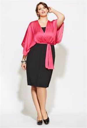 cheap plus size cocktail dresses - Avenue Plus Size Kimono Sleeve Belted Colorblock Dress.jpg