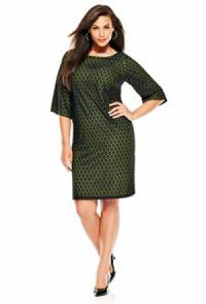 cheap plus size cocktail dresses - Avenue Plus Size Lace Overlay Shift Dress green.jpg