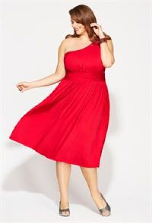 cheap plus size cocktail dresses - Avenue Plus Size Red One Shoulder Dress - red.jpg