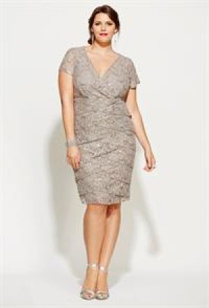cheap plus size cocktail dresses - Avenue Plus Size Sequined Lace Tier Dress grey.jpg