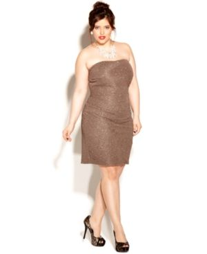 cheap plus size cocktail dresses - Love Squared Plus Size Dress Strapless Metallic formal prom cocktail dress.jpg