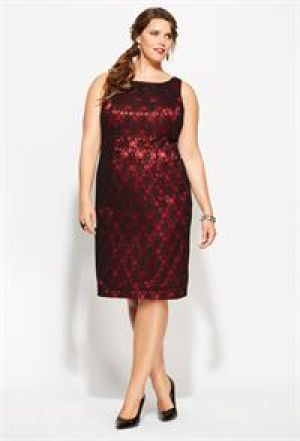 cheap plus size cocktail evening dresses - Avenue Plus Size Sleeveless Lace Sheath Dress.jpg