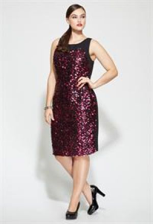 cheap plus size evening cocktail dresses - Avenue Plus Size Sleeveless Sequin Sheath Dress.jpg