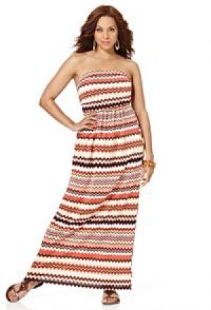cheap plus size summer dresses - Avenue Plus Size Chevron Bandeau Maxi Dress.jpg