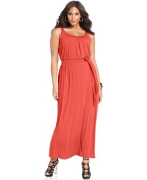 cheap plus size summer dresses - Coral NY Collection Plus Size Dress Sleeveless Pleated Belted Maxi.jpg