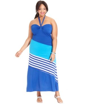 cheap plus size summer dresses - Extra Touch Plus Size Dress Halter Striped Colorblocked Maxi bright.jpg
