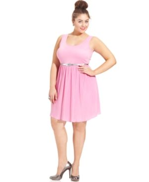cheap plus size summer dresses - Extra Touch Plus Size Dress pink Sleeveless Belted Pleated.jpg