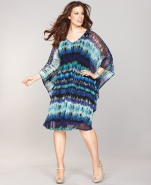 cheap plus size summer dresses - INC International Concepts Plus Size Dress Kimono-Sleeve Printed Caftan.jpg