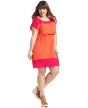 cheap plus size summer dresses - Soprano Plus Size Dress Short-Sleeve Colorblocked.jpg