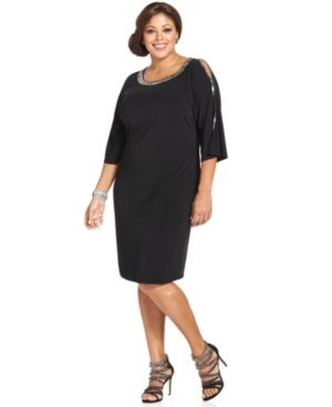 ladylike plus size how to dress - Spense Plus Size Dress Three-Quarter-Sleeve Cutout Embellished.jpg