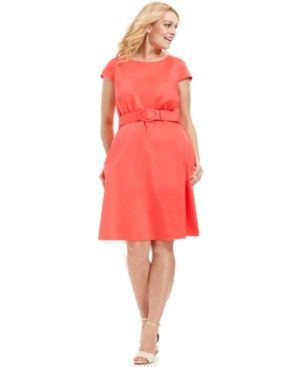 Coral orange Spense Plus Size Dress Cap-Sleeve Belted A-Line.jpg