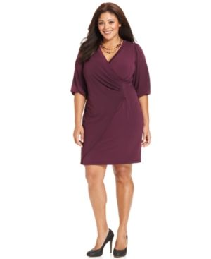 plus plus size dresses - AGB Plus Size Dress Three-Quarter-Sleeve Faux Wrap.jpg