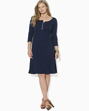 plus size dresses for cheap - Lauren Ralph Lauren Plus Cotton Henley Dress-Plus Sizes.jpg