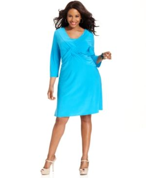 plus size how to dress - Acqua Elementz Plus Size Dress B-Slim Three-Quarter-Sleeve Cross-Front.jpg