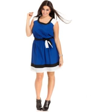 plus size plus size - Trixxi Plus Size Dress Cap-Sleeve Colorblocked Belted.jpg