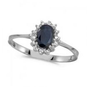 Allurez Blue Sapphire & Diamond Lady Diana Kate Middleton Ring 14k White Gold.jpg