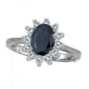 Allurez Lady Diana Blue Sapphire & Diamond Ring 14k White Gold.jpg